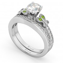 Butterfly Diamond & Peridot Bridal Set 14k White Gold (0.42ct)
