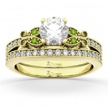 Butterfly Diamond & Peridot Bridal Set 14k Yellow Gold (0.42ct)