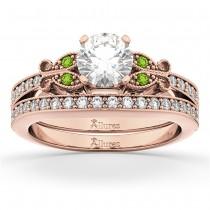 Butterfly Diamond & Peridot Bridal Set 18k Rose Gold (0.42ct)