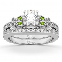 Butterfly Diamond & Peridot Bridal Set 18k White Gold (0.42ct)
