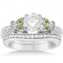 Butterfly Diamond & Peridot  Bridal Set Palladium (0.42ct)
