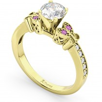 Butterfly Diamond & Pink Sapphire Engagement Ring 14k Yellow Gold (0.20ct)