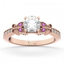 Butterfly Diamond & Pink Sapphire Engagement Ring 18k Rose Gold (0.20ct)