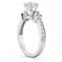 Butterfly Diamond & Pink Sapphire Engagement Ring 18k White Gold (0.20ct)