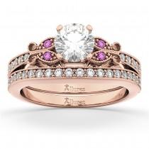 Butterfly Diamond & Pink Sapphire Bridal Set 14k Rose Gold (0.42ct)