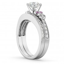 Butterfly Diamond & Pink Sapphire Bridal Set 14k White Gold (0.42ct)