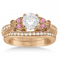 Butterfly Diamond & Pink Sapphire Bridal Set 18k Rose Gold (0.42ct)