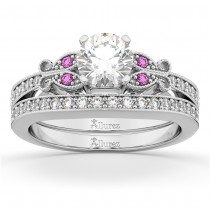 Butterfly Diamond & Pink Sapphire Bridal Set 18k White Gold (0.42ct)