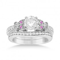Butterfly Diamond & Pink Sapphire Bridal Set Palladium (0.42ct)