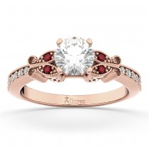 Butterfly Diamond & Ruby Engagement Ring 14k Rose Gold (0.20ct)
