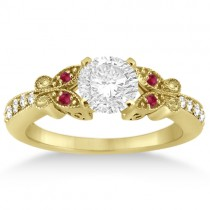 Butterfly Diamond & Ruby Engagement Ring 18k Yellow Gold (0.20ct)