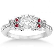 Butterfly Diamond & Ruby Engagement Ring Palladium (0.20ct)