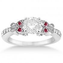 Butterfly Diamond & Ruby Engagement Ring Palladium (0.20ct)