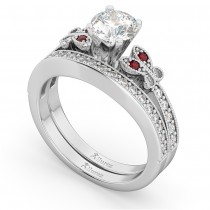 Butterfly Diamond & Ruby Bridal Set 14k White Gold (0.42ct)