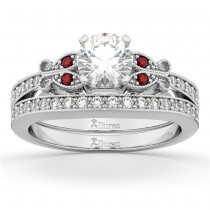 Butterfly Diamond & Ruby Bridal Set 18k White Gold (0.42ct)
