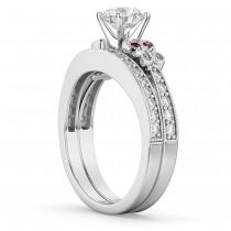 Butterfly Diamond & Ruby Bridal Set 18k White Gold (0.42ct)