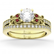 Butterfly Diamond & Ruby Bridal Set 18k Yellow Gold (0.42ct)