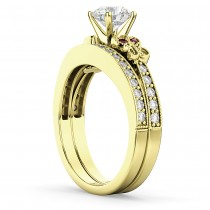 Butterfly Diamond & Ruby Bridal Set 18k Yellow Gold (0.42ct)