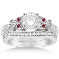 Butterfly Diamond & Ruby Bridal Set Platinum (0.42ct)
