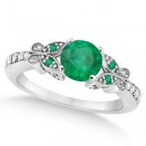 Butterfly Genuine Emerald & Diamond Engagement Ring 14K W. Gold 0.71ct