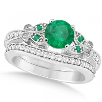 Butterfly Genuine Emerald & Diamond Bridal Set 14k White Gold 1.33ct