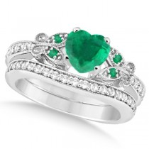 Butterfly Genuine Emerald & Diamond Heart Bridal Set 14k Gold 1.93ct