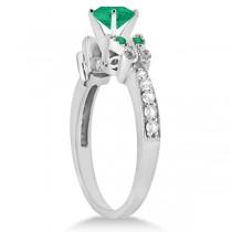 Butterfly Genuine Emerald & Diamond Heart Bridal Set 14k Gold 1.93ct