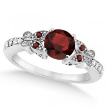 Butterfly Genuine Garnet & Diamond Engagement Ring 18k W. Gold (0.88ct)