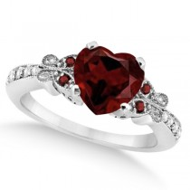Butterfly Genuine Garnet & Diamond Heart Engagement 14K W Gold 1.73ct