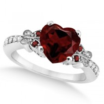 Butterfly Genuine Garnet & Diamond Heart Engagement 14K W Gold 2.48ct