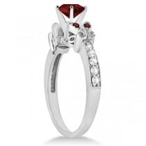 Butterfly Genuine Garnet & Diamond Heart Engagement 14K W Gold 2.48ct
