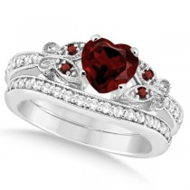 Butterfly Genuine Garnet & Diamond Heart Bridal Set 14k W Gold 1.55ct
