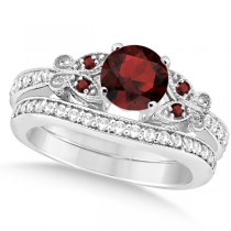 Butterfly Genuine Garnet & Diamond Bridal Set 18k White Gold (1.10ct)