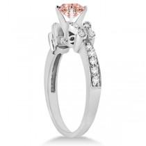 Butterfly Morganite & Diamond Engagement Ring 14K White Gold .88ct