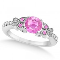 Butterfly Pink Sapphire & Diamond Engagement Ring 14K White Gold .88ct