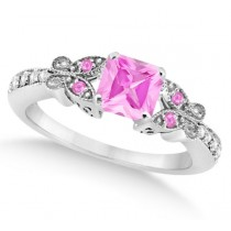 Butterfly Pink Sapphire & Diamond Princess Ring 14K White Gold 1.33ct