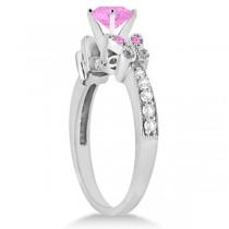 Butterfly Pink Sapphire & Diamond Bridal Set 14k White Gold (2.05ct)