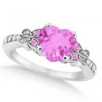 Butterfly Pink Sapphire & Diamond Heart Bridal Set 14k W Gold 2.70ct
