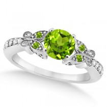 Butterfly Genuine Peridot & Diamond Engagement Ring 14K W. Gold 1.11ct