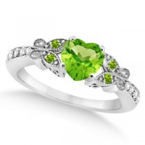 Butterfly Genuine Peridot & Diamond Heart Engagement 14k W Gold 1.31ct