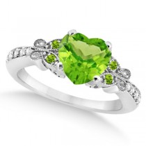 Butterfly Genuine Peridot & Diamond Heart Engagement 14k W Gold 1.71ct