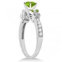 Butterfly Genuine Peridot & Diamond Heart Engagement 14k W Gold 1.71ct