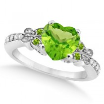 Butterfly Genuine Peridot & Diamond Heart Engagement 14k W Gold 2.46ct