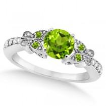 Butterfly Genuine Peridot & Diamond Bridal Set 14k White Gold 1.33ctw|escape