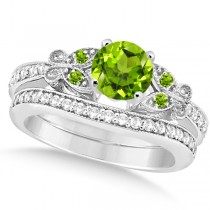 Butterfly Genuine Peridot & Diamond Bridal Set Palladium (1.33ct)