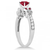 Butterfly Genuine Ruby & Diamond Engagement Ring 14K White Gold 0.86ct