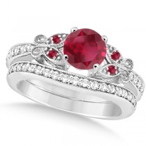 Butterfly Genuine Ruby & Diamond Bridal Set 14k White Gold 1.08ctw