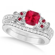 Butterfly Ruby & Diamond Princess Bridal Set 14k White Gold 1.53ctw