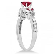Butterfly Genuine Ruby & Diamond Heart Bridal Set 14k W. Gold 1.93ct