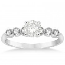 Diamond Bezel Set Engagement Ring Setting 14k White Gold (0.09ct)